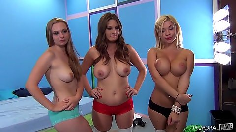 Allison Moore and Bibi Noel and Tiffany Kohl posing in panties wearing for orgy