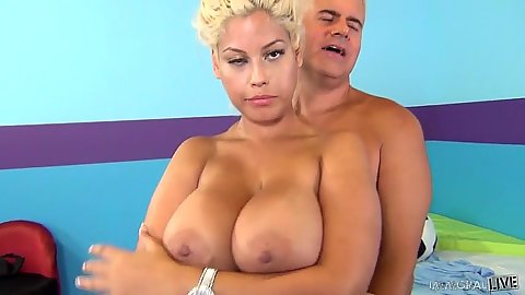 Enticing blonde with huge tits sex Bridgette B