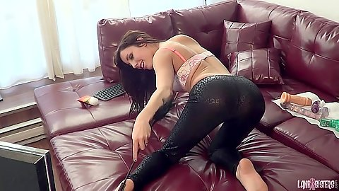 Tight pants undressing girl in home made video solo