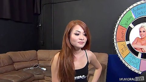 Redhead asian girl Kim Blossom comes in for her scene