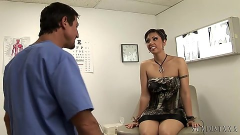 Satine Phoenix visits doctors office and gets pussy exam