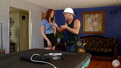 Redhead Cici Rhodes goes down to suck off a construction dude