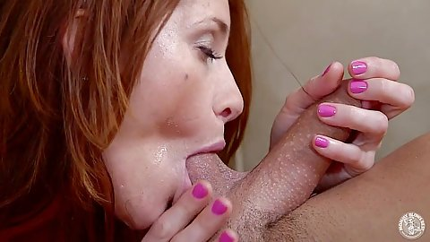 Redhead stunning Cici Rhodes doing a blowjob with pov ball sucking