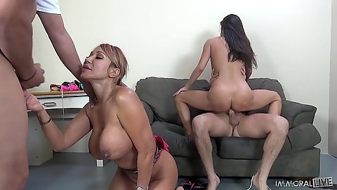 Kalina Ryu and Ava Devine sucking sum dicks and such