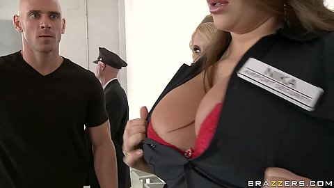 Big tits security guards capture a bait