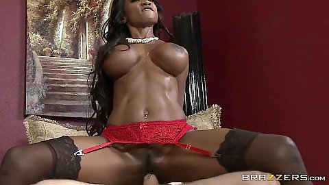 Reverse cowgirl athletic milf with big boobs and abs fuck ebony Diamond Jackson