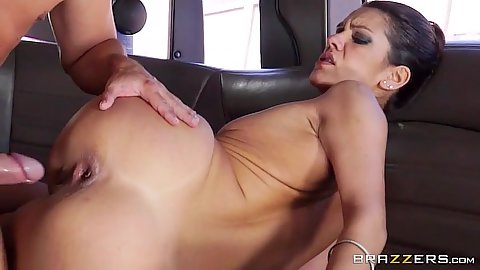 Alluring latina with small boobs fucked in the limo Samia Duarte