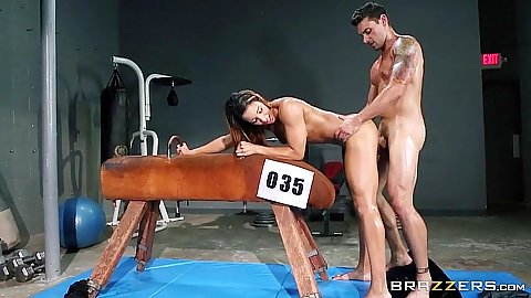 Charming latina standing fuck with oil in the gym Sophia Fiore