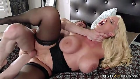Choking rough sex milf fuck on bed with Alura Jenson