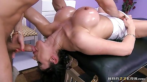Reverse blowjob with dirty massage milf in oil Eva Karera