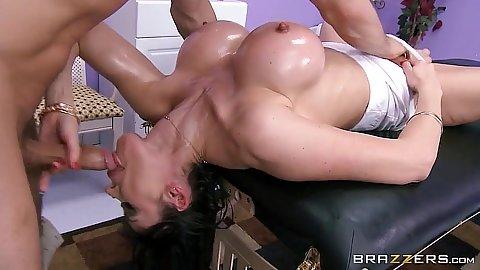 Reverse blowjob with dirty massage milf in oil Eva Karera