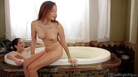 Sweat petite girls hitting the jacuzzi tub Cassie Laine and Tiffany Fox