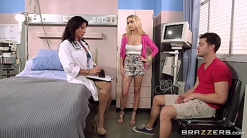 Milf doctor and her friend Lezley Zen and Devon are sucking off patient
