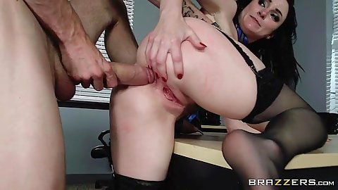 Big dick hairy twat anal sex in office with seductive Veruca James