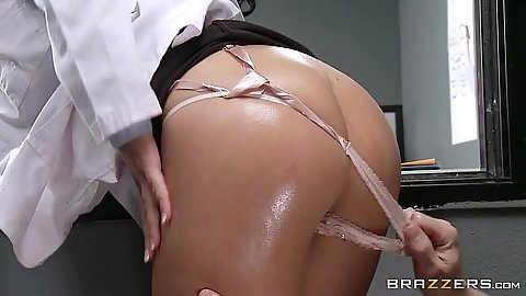 Doctor with shiny oiled up butt on reception with Emily B