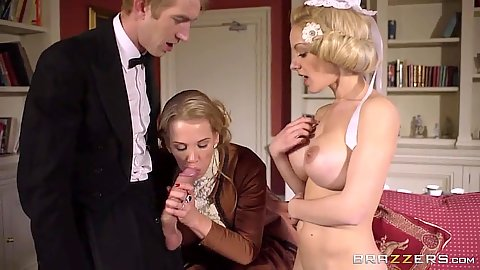 Lively milf half dressed 2 on 1 sucking Rebecca Moore and Loulou