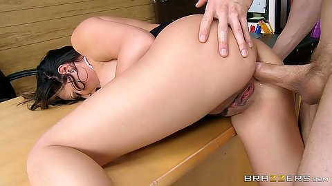 Tempting anal entry over teachers table in class with Danica Dillon