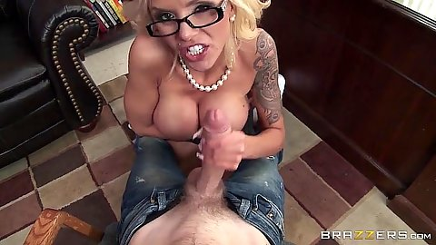 Stroking cock milf in the school office with pro Nina Elle