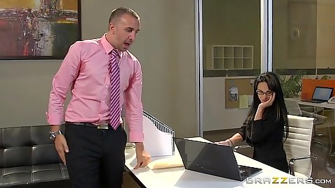 Intimate brunette getting it on with the boss Alektra Blue