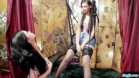 Girls playing around the sex swing with some bdsm love