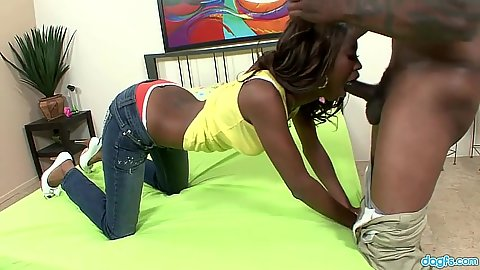 Ebony blowjob with cute teen cock sharing bitches