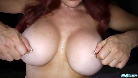 Big melons redhead milf Venessa sits on dick wearing stockings