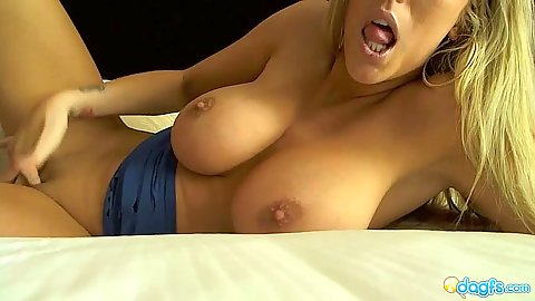 Busty blonde masturbation with Gisele Vegas vacation striptease