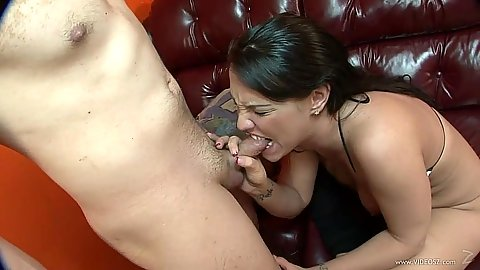 Femdom bitch is biting dick during cock sucking Kandy Kash