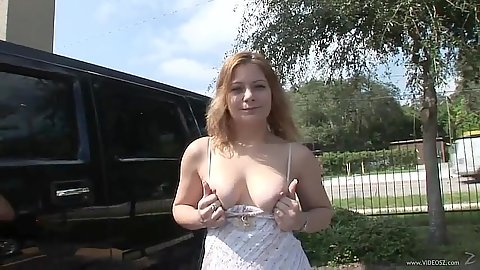 Luscious natural boobs girl flashes her tits and ass and jumps in the car