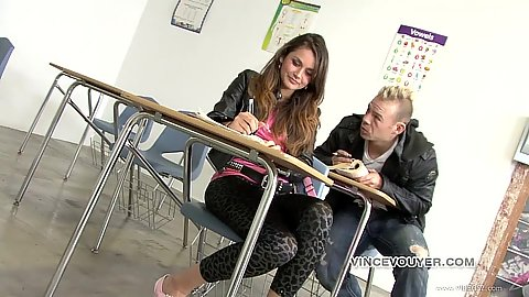 18 year old Allie Haze in class on detention