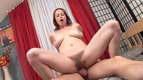 Lovely bouncing redhead tits and doggy style hairy pussy fuck Carol