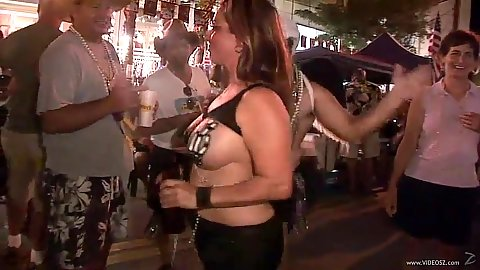 Daring amateurs going in public on the street to party hard