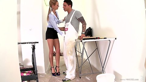 Temping fully clothed Erica Fontes is a nice cock sucker