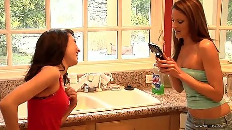 Young lesbian girls Samantha Ryan and Jesse Jordan filming each other on first video