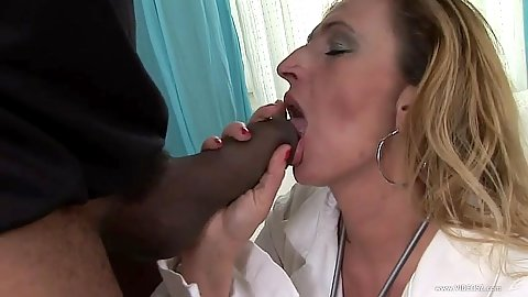 Big black cock blowjob with mature woman and her hairy twat