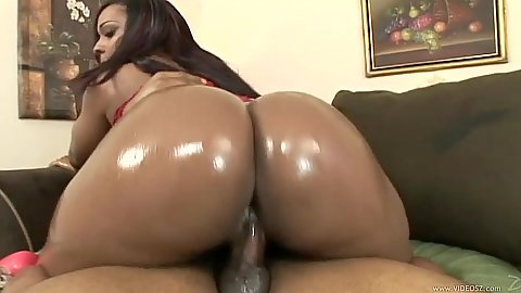 Ebony bubble butt oil cowgirl sex with intense Flame