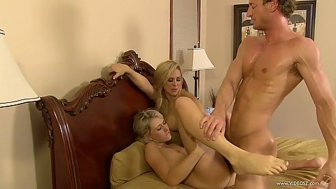 18 year old blonde and a milf friend get cock sucking lessons Cherie Deville and Lilly Banks