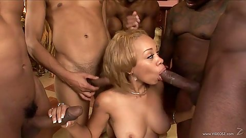 Group black gang bang with girl happy to do some swallowing after deep throat Melrose Foxx