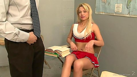 Blonde college cheerleader getting feet licked by teacher Charity Love