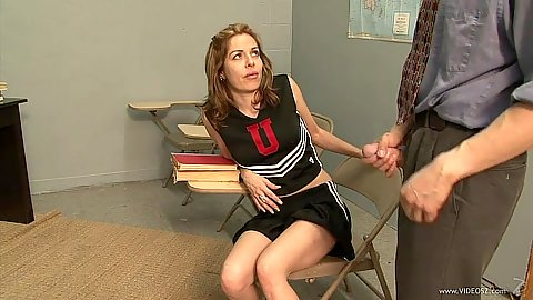 Asian teacher is violating a cheerleader Kora Cummings in uniform in class
