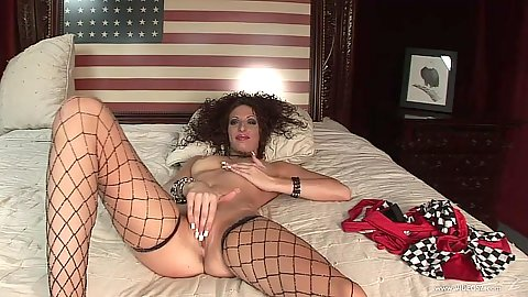 Fishnet latina masturbation and acting playful