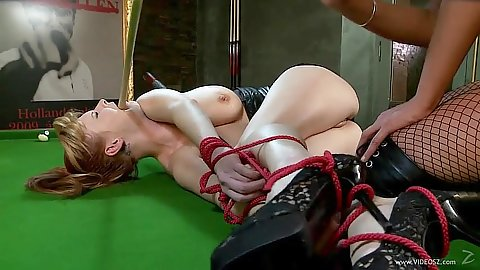 Fetish girls with rubber suit and tied up on pool table from Tarra White and Emma Butt