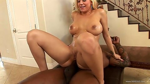 Reverse cowgirl interracial milf anal stretching with Mariah Madysinn
