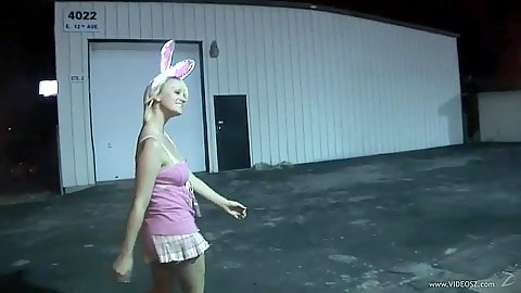 Spunky amateur walking around in a dress and goes to store to show pussy