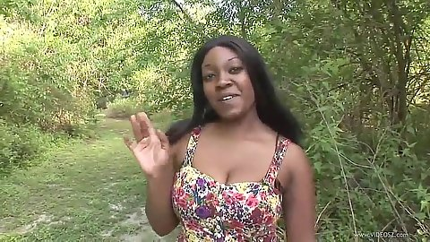 Natural tits ebony amateur flashing tits in park behind trees