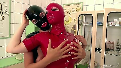 Two horny latex suit chicks getting all dirty in hospital Latex Lucy and Eva Parcker