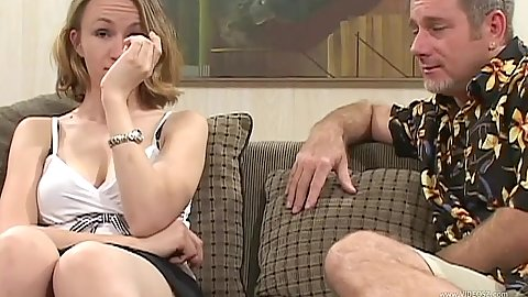 Teen Janie Lynn gets naked and sucks penis in pov