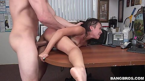 Delicous petite small boobs girl Sophia Torres ripped up on audition table