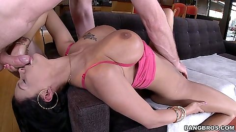 Reverser blowjob with busty brunette Peta Jensen