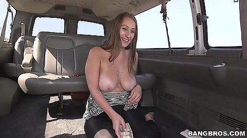 Skyler Luv busty girl gets naked on bangbus while we cruise around